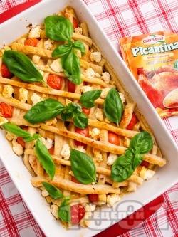 Пай с тиквички, пилешки гърди, патладжани, тиквички, чери домати, сирене и бутер тесто на фурна - снимка на рецептата